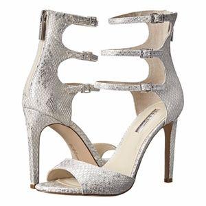 BCBG Chevonne Snakeskin Strappy Heel